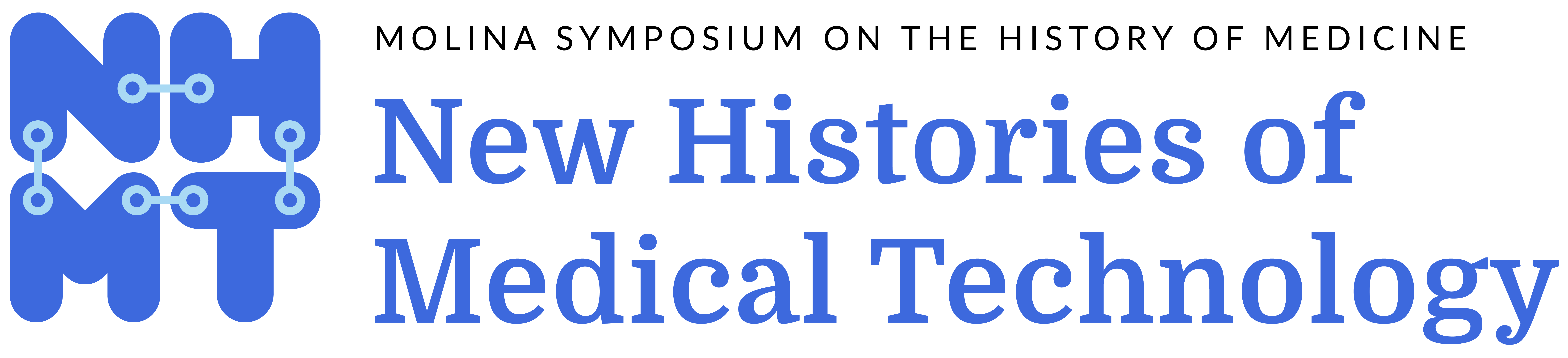 Logo with black text that reads Molina Symposium in the history of medicine and blue text that reads New Histories of Medical Technology